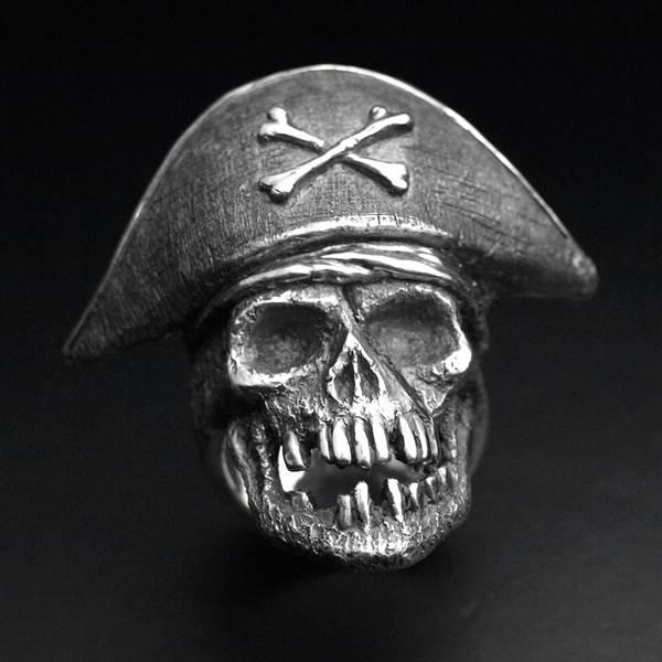 Bague argent tête de mort Captain pirate ALLDEADS