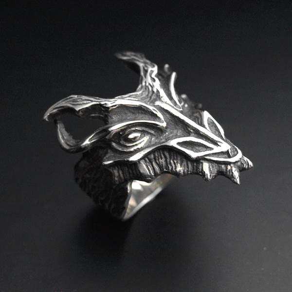 Bague tête de dragon argent 925 ALLDEADS