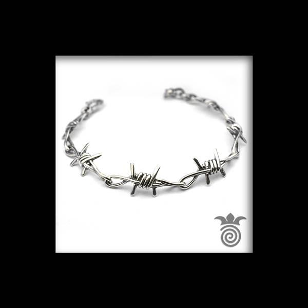 Bracelet barbelé 1 rang argent