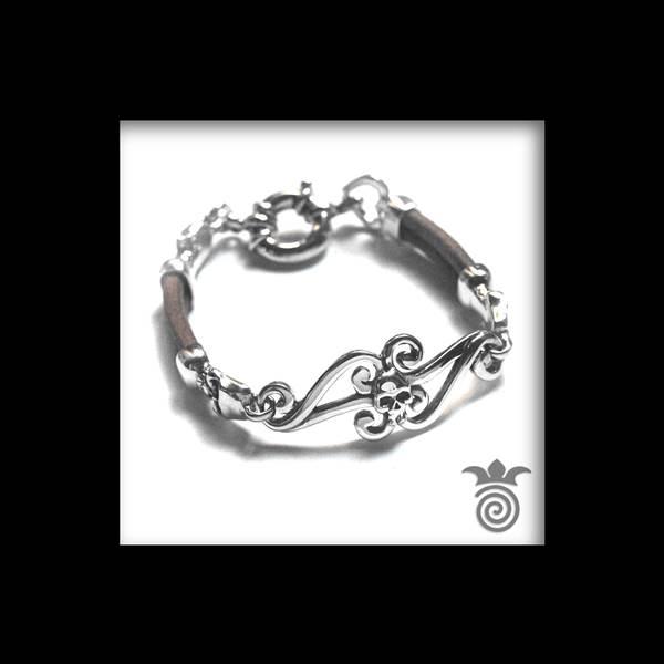 Bracelet tête de mort argent et cuir
