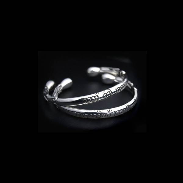 Bracelets torque argent gravures en elfique