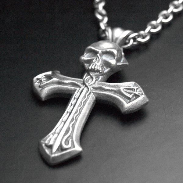 Grand pendentif croix tête de mort serpents en argent