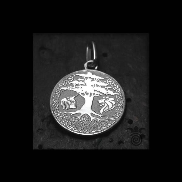 Médaille de baptème arbre de vie entrelacs Yggdrasil argent