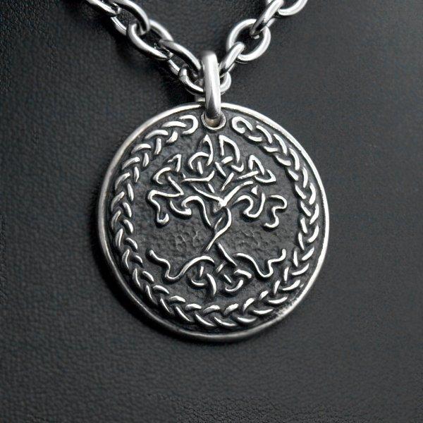 Médaillon arbre de vie celte argent oxydé noir